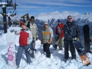 "Сноубордисты на ""Домбае"""